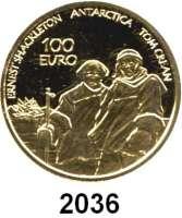 AUSLÄNDISCHE MÜNZEN,E U R O  -  P R Ä G U N G E N Irland100 EURO 2008.  (15,55 g fein).  Internationales Polarjahr.  Schön  56.  KM 56.  Fb. 7.  Im Originaletui mit Zertifikat.  GOLD