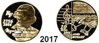 AUSLÄNDISCHE MÜNZEN,E U R O  -  P R Ä G U N G E N Frankreich10 Euro 2006 (7,77 g fein).  250. Geburtstag von Wolfgang Amadeus Mozart.  Schön 868.  KM 2063.  Fb. 808.  Im Originaletui mit Zertifikat.  GOLD