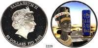 AUSLÄNDISCHE MÜNZEN,Fidschi 50 Dollars 2012.  2 Unzen Silber.  Edelsteine Ägyptens - Nofretete in Farbe im Schweberahmen.  KM 229.