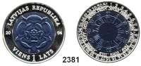 AUSLÄNDISCHE MÜNZEN,Lettland 1 Lats 2004.  Bimetall, Silber und Niob.  Schicksal der Zeit - Siegel von Heinrich Rose.  Schön 65.  KM 62.  Im Originaletui mit Zertifikat.