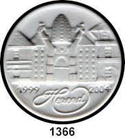 MEDAILLEN AUS PORZELLAN,Andere Hersteller HerendRunde einseitige weiße Plakette.  Gebäudeansicht, 1999 HEREND 2004.  Rückseitig blaue Herstellermarke, 8835000/B.B EK und Prägung