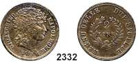 AUSLÄNDISCHE MÜNZEN,Italien NeapelJoachim (Napoleon) Murat 1808 - 1815.  2 Lire 1813.  Schön 13.  KM 258.