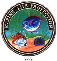 AUSLÄNDISCHE MÜNZEN,Ghana 500 Sika 1997 (Farbmünze/ 5 Unzen Silber 925/1000).  Zwei Korallenfische.