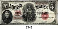 P A P I E R G E L D,AUSLÄNDISCHES  PAPIERGELD U.S.A.5 Dollars 1907. KN M...  Pick 186