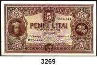 P A P I E R G E L D,AUSLÄNDISCHES  PAPIERGELD Litauen5 Litai 24.6.1929.  Pick 26 a.