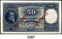 P A P I E R G E L D,AUSLÄNDISCHES  PAPIERGELD Litauen50 Litu 24.11.1927.  KN A 000,000.  Perforation