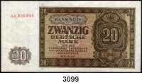 P A P I E R G E L D,D D R 20 Deutsche Mark 1948.  AA 306098.  Ros. SBZ-15 b.