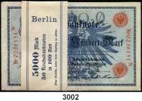P A P I E R G E L D,R E I C H S B A N K N O T E N 100 Mark 7.2.1908. LOT 50 Scheine (Originalbündel mit Banderole; fortlaufende Nummern).  Q...N.  Ros. DEU-31 b.