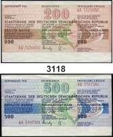 P A P I E R G E L D,D D R Reiseschecks zu 50 Mark (eingelöst, wenig gebraucht, 20x), 200 Mark (blanko, fast kassenfrisch, 20x) und 500 Mark (blanko, kassenfrisch, 20x)  LOT 60 Stück.