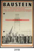 P A P I E R G E L D,D D R Bausteine zu 2, 10 und 100 DM.  Für die Errichtung von Gedenkstätten auf dem Gelände ehemaliger faschistischer Konzentrationslager in der DDR.  LOT 3 Stück.