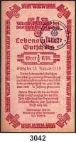 P A P I E R G E L D,Winterhilfswerk NSDAP Ortsgruppe Milow.  1/2 Reichsmark.  Lebensmittelgutschein 1935.  Eingelöst in Bützer, Milow und Rathenow.  LOT 3 Scheine.