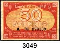 P A P I E R G E L D,Kleingeldscheine der Landesregierungen Baden - Staatsschuldenverwaltung5, 10(2), 50 Pfennig 1947.  Ros FBZ-1 b, 2 c, 2 d, 3.  LOT 4 Scheine.