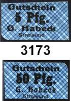 P A P I E R G E L D   -   N O T G E L D,Mecklenburg - Vorpommern StralsundGustav Habeck.  5, 10, 25 und 50 Pfennig o.D.(1922).  Auf Spielkarten gedruckt.  Hellblau, kleinkariert, Druck Schwarz.  G/M 1279.2.  LOT 4 Scheine.