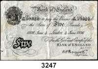 P A P I E R G E L D,AUSLÄNDISCHES  PAPIERGELD GroßbritannienFalsche Pfundnoten - Operation Bernhard.   5 Pfund 4.Juni 1936 London.  Pick 335 a.