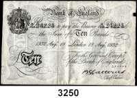 P A P I E R G E L D,AUSLÄNDISCHES  PAPIERGELD GroßbritannienFalsche Pfundnoten - Operation Bernhard.  10 Pfund 18. August 1932 London.  Pick 336 a.