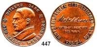 M E D A I L L E N,Personen Hitler, AdolfBronzemedaille 1933/34 (unsigniert). HITLERS DANK - GAU HALLE-MERSEBURG, Brustbild links. / WINTERHILFSWERK DES DEUTSCHEN VOLKES - 1933/34, im Feld: Mebelhres (kursiv) / LANDES- UND GAUFÜHRER / DES W.H.W. 35 mm. 16,64 g. Colbert/Hyder C-60.