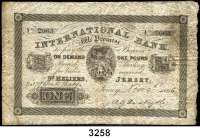 P A P I E R G E L D,AUSLÄNDISCHES  PAPIERGELD JerseyInternational Bank.  1 Pfund 9.11.1865.  Pick S 161.