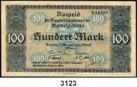 P A P I E R G E L D,Memelgebiet Notgeld der Handelskammer des Memelgebietes 19221 Mark(gebraucht), 5 Mark(gebraucht) und 100 Mark(geklebter Einriss, sonst leicht gebraucht) 22.2.1922.  Ros. MEM-2,4, 9.  LOT 3 Scheine.