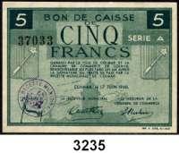 P A P I E R G E L D,AUSLÄNDISCHES  PAPIERGELD FrankreichHandelskammer von Colmar,  50 Centimes, 1 und 5 Francs 17.6.1940.  Keller 59, 60, 61.  LOT 3 Scheine.
