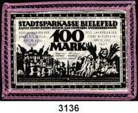 P A P I E R G E L D   -   N O T G E L D,Notgeld der besonderen Art Bielefelder Stoffgeld100 Mark 15.7.1921.  Mit lilafarbener Häkelborte.  Grab. 32 b.