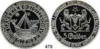 M E D A I L L E N,Städte DanzigSilbermedaille 1975 (unsigniert, 1000 fein) zum 100jährigen Bestehen der Danziger Seeschiffervereinigung und zum 750jährigen Bestehen der Stadt, sogenannter Danziger Jubiläumsgulden. Wappen, darunter 5 Gulden. / Kogge im Danziger Siegel von 1299. Rand: ******* NEC TEMERE ******* NEC TIMIDE 46 mm. 30,98 g.