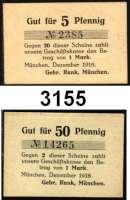 P A P I E R G E L D   -   N O T G E L D,Bayern MünchenSchönes München-Konvolut.  Bayerische Soldatenheime,  Spendenschein ohne Wertangabe.   J. Reiss. Wwe., 2x 25 Pf und 2x 50 Pf. o.D.(1921)   G/M 908.1, 910.1.  Gebr. Rank,  5 und 50 Pf. Dez.1916.  Tieste 4680.1365. 01 und 03.  Bayerische Staatsschuldenverwaltung,  2 Goldmark 10 Goldpfennig und 4 Goldmark 20 Goldpfennig 1.11.1923.  Bayerische Vereinsbank,  42 Pfennig-Gold.  21.11.1923.  Dresdner Bank Fil. München,  1 Mark 5 Pfg.Gold 8.11.1923.  Müller 3340.2, 3; 3355.1; 3360.2 b.  LOT 11 Scheine.