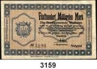 P A P I E R G E L D   -   N O T G E L D,Bayern WeilheimStadt,  20 und 50 Millionen Mark September 1923.  10 Milliarden Mark Oktober 1923.  100 und 500 Milliarden Mark November 1923.  Bezirksgemeinde,  20, 50, 100 und 200 Milliarden Mark Oktober 1923.  Keller 5503.a-d, 5504a, b.  LOT 9 Scheine.