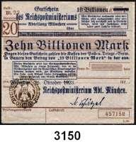 P A P I E R G E L D   -   N O T G E L D,Reichspost MünchenReichspostministerium,  10 Billionen Mark 26.10.1923.  Brauner Hochdruckstempel 23.11.1923.  Mü/Gei/Grab. 508.5.a.