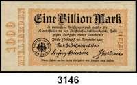 P A P I E R G E L D   -   N O T G E L D,Reichsbahn Halle (Saale)500.000 Mark 1.10.1923 bis 1 Billion Mark (ksfr.) 10.11.1923.  Müller/Geiger/Grab.  010.1 bis 010.11.  LOT 10 verschiedene Scheine.