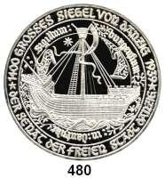 M E D A I L L E N,Städte DanzigSilbermedaille 1976 (unsigniert, 1000 fein) zum 750jährigen Bestehen der Stadt, sogenannter Danziger Jubiläumsgulden. Wappen, darunter 5 Gulden. / Großes Siegel von Danzig.  Rand: ******* NEC TEMERE ******* NEC TIMIDE 46 mm. 31,17 g.