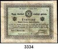 P A P I E R G E L D,AUSLÄNDISCHES  PAPIERGELD Ungarn1 Gulden/Forint 1.3.1849.  Richter 413.