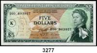P A P I E R G E L D,AUSLÄNDISCHES  PAPIERGELD Ost-Karibische-Staaten1 und 5 Dollars o.D. (1965).  Pick 13 o und 14 l..  LOT 2 Scheine.