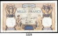 P A P I E R G E L D,AUSLÄNDISCHES  PAPIERGELD Frankreich1000 Francs 2.2.1939.  Pick 90 c.