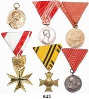 Orden, Ehrenzeichen, Militaria, Zeitgeschichte,Ausland ÖsterreichLOT von 6 österreichischen Auszeichnungen.  Kaiserreich bis heute.  2x Silber.