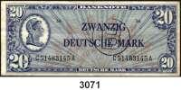 P A P I E R G E L D,BUNDESREPUBLIK DEUTSCHLAND 20 Deutsche Mark o.D.(20.6.1948).  LIBERTY  Mit B-Stempel.  Ros. WBZ-21 a.