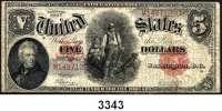 P A P I E R G E L D,AUSLÄNDISCHES  PAPIERGELD U.S.A.5 Dollars 1907.  KN M... Pick 186.