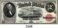 P A P I E R G E L D,AUSLÄNDISCHES  PAPIERGELD U.S.A.1 Dollar 1917 (stark gebraucht) und 2 Dollar 1917 (gebraucht/sauber).  Pick 187 und 188.  LOT 2 Scheine.