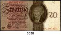 P A P I E R G E L D,R E I C H S B A N K 20 Reichsmark 11.10.1924.  Q/K.  Ros. DEU-174.
