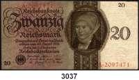 P A P I E R G E L D,R E I C H S B A N K 20 Reichsmark 11.10.1924.  Q/A.  Ros. DEU-174.
