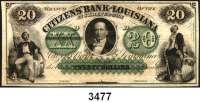 P A P I E R G E L D,AUSLÄNDISCHES  PAPIERGELD U.S.A.Louisiana.  Citizens Bank.  20 Dollars 18xx.  Blankette.