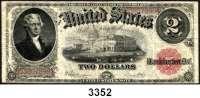 P A P I E R G E L D,AUSLÄNDISCHES  PAPIERGELD U.S.A.2 Dollars 1917.  Pick 188.  LOT 3 Scheine