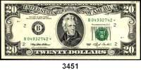 P A P I E R G E L D,AUSLÄNDISCHES  PAPIERGELD U.S.A.1 Dollar 1995, 10 und 20 Dollars 1993.  Federal Reserve Note.  Austauschnoten (Stern hinter der KN).  Pick 492, 493, 496a.  LOT 3 Scheine.