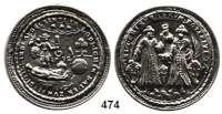 M E D A I L L E N,Städte BlaubeurenSilberabguß o.J. des Siegels der Baderzunft von 1732.  Siegel der Chirurgen. / Zwei stehende Chirurgen mit Schildern und Geräten.  41,2 mm.  37,63 g.