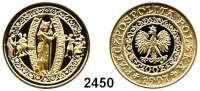 AUSLÄNDISCHE MÜNZEN,Polen Republik seit 1990200 Zlotych 1997 (13,95 g fein).  1000. Todestag des hl. Adalbert, Bischof von Prag.  Schön 337.  Y. 323.  Fb. 166.  Mit Zertifikat.  GOLD