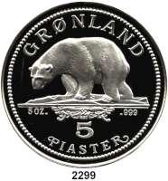 AUSLÄNDISCHE MÜNZEN,Grönland Magarethe II., seit 19725 Piaster 1987 (Silber, 5 Unzen).  Eisbär.
