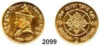 AUSLÄNDISCHE MÜNZEN,Bhutan Jigme Dorji Wangchuk 1952 - 19722 Sertums 1966 (14,65 g fein).  Schön 11.  KM 34.  Fb. 2.  Auflage 598 Exemplare.  GOLD.