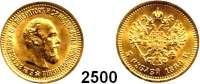 AUSLÄNDISCHE MÜNZEN,Russland Alexander III. 1881 - 18945 Rubel 1889, St. Petersburg.  (5,8g fein).  Bitkin 33.  Schön 134.  Y. 42.  Fb. 168.  GOLD