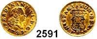 AUSLÄNDISCHE MÜNZEN,Spanien Ferdinand VI. 1746-17591/2 Escudo 1759 J, Madrid.  (1,76 g).  KM 378.  Fb. 274.  GOLD