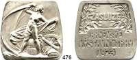 M E D A I L L E N,Städte BrünnVersilberte Bronzemedaille 1923.  Auszeichnungsmedaille der Gewerbeausstellung.  48 x 47 mm.  77 g.  Im Originaletui.