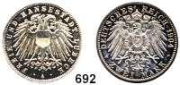R E I C H S M Ü N Z E N,Lübeck, Freie und Hansestadt 2 Mark 1904.